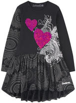 Desigual Printed dress with reversible sequins