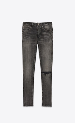 Saint Laurent Mid-rise Skinny Jeans In Medium Carbon Stretch Denim Silver 25