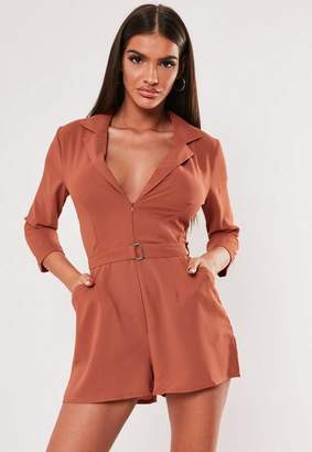 Missguided Mocha Belted Blazer Wrap Romper