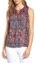 Lucky Brand Women's Paisley Lace-Up Tank