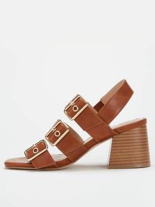 Very Galaxie Mid Block Heel Buckle Sandals - Tan