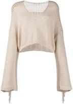 Mes Demoiselles Concha fringe-trimmed cropped jumper