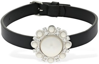 Alessandra Rich Leather Choker W/ Faux Pearl & Crystal