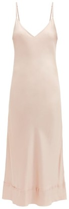 Lee Mathews - Stella Raw Edged Silk Satin Slip Dress - Womens - Light Pink