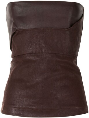 Rick Owens Leather-Look Bustier Top