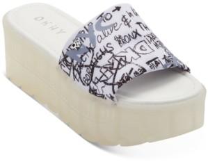 DKNY Clear Platform Slide Flatform Sandals