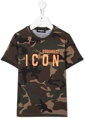 DSQUARED2 logo-print camouflage T-shirt
