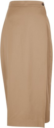 Low Classic Camel Wool Wrap Skirt