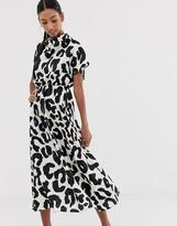 Asos Design DESIGN high neck midi dress in mono animal print