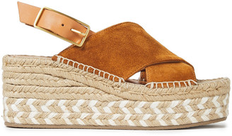 Rag & Bone Leather-trimmed Suede Wedge Espadrille Sandals