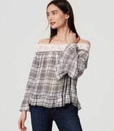 LOFT Plaid Lacy Off The Shoulder Blouse