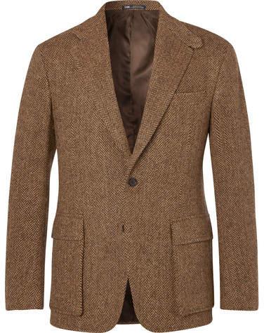 Polo Ralph Lauren Tan Slim-Fit Herringbone Wool Suit Jacket