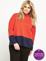 V By Very Curve Colour Block Knit Jumper - Navy/Orange