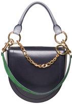 Sacai Leather Coin Bag w/Chain Strap, Navy
