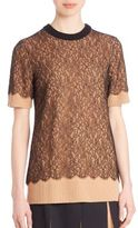 Michael Kors Short-Sleeve Lace Tee