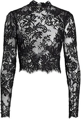 Monique Lhuillier Embroidered Lace Open-Back Jacket
