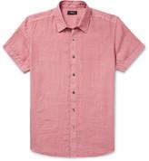 Theory Clark Slim-fit Garment-dyed Linen Shirt - Pink
