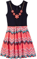Beautees Zig Zag Belted Dress with Necklace (Big Girls)