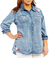 Reba Plus Americana Patch Denim Shirt