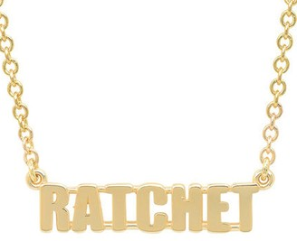 Established RATCHET Word Yellow Gold Chain Necklace