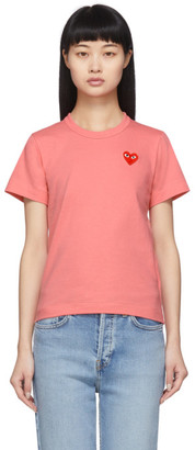 Comme des Garcons Pink and Red Small Heart T-Shirt