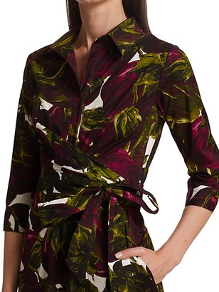 Samantha Sung Olivia Eggplant-Print Stretch Cotton Midi Shirtdress