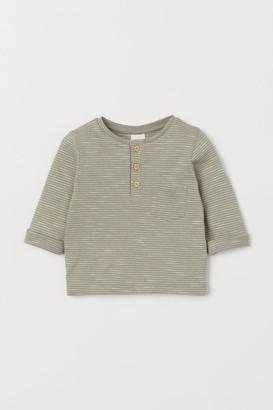 H&M Slub Jersey Henley Shirt - Green