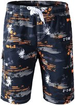 Topda123 Men's Boardshorts Printed Swim Trunks Quick Dry with Water Hole Pocket (4XL, )
