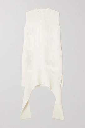 The Row Aretha Draped Ribbed Cashmere Tank - Ivory
