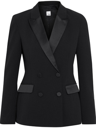 Iris & Ink Federica Double-breasted Crepe Tuxedo Jacket