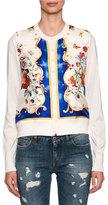 Dolce & Gabbana Baroque Floral-Print Cardigan, White