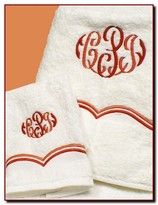 The Well Appointed House Set of Six Towels with Double Scroll Design - Optional Monogram