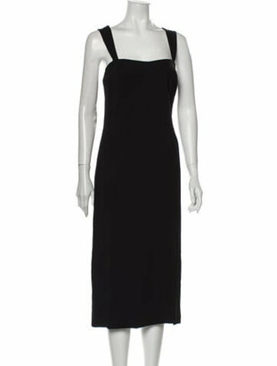 Adam Lippes Square Neckline Midi Length Dress Black