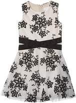 BCBGMAXAZRIA Girls Girls Two-Tone Lace Crisscross Waist Dress (Big Kids) (Black) Girl's Dress