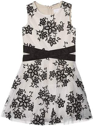 BCBGMAXAZRIA Girls Two-Tone Lace Crisscross Waist Dress (Big Kids) (Black) Girl's Dress