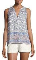 Joie Jeralda Sleeveless Paisley-Print Silk Shirt