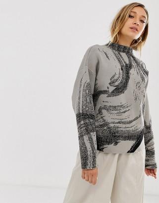 Weekday jacquard sweater in mole w black pattern