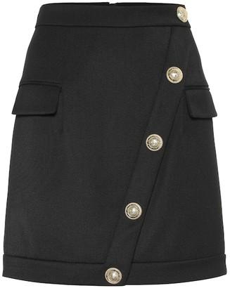 Balmain Embellished wool-twill miniskirt