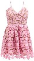 Thumbnail for your product : Self-Portrait Azalea Floral Guipure-lace Mini Dress - Pink