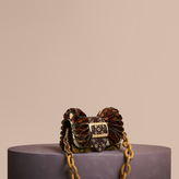 Burberry The Ruffle Buckle Bag in Snakeskin, Ostrich and Check