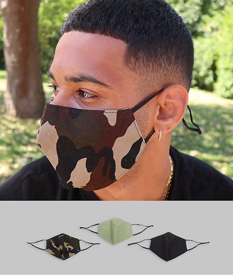 ASOS DESIGN 3 pack face coverings with adjustable straps and nose clip in camouflage print