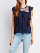 Charlotte Russe Crochet & Ruffle-Trim Embroidered Top