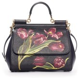 Dolce & Gabbana 'Small Miss Sicily' Tulip Print Leather Satchel - Black