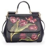 Dolce & Gabbana 'Small Miss Sicily' Tulip Print Leather Satchel - Black