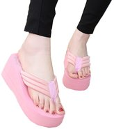 Huafeiwude Womens Beach Wedges Platform Flip-Flops Slippers Sandals 38