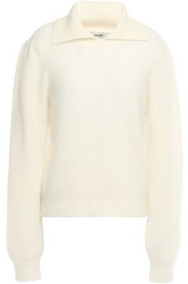 Ganni Callahan Brushed Ribbed-knit Sweater