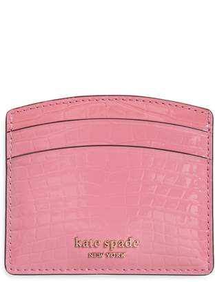 Kate Spade Sylvia Croc Embossed Leather Card Case