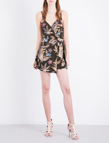 Sandro Wrap-style silk-crepe playsuit