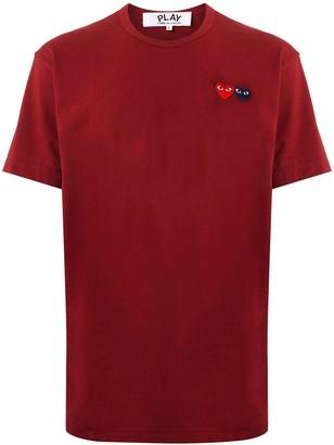 Comme des Garcons double heart appliqued T-shirt