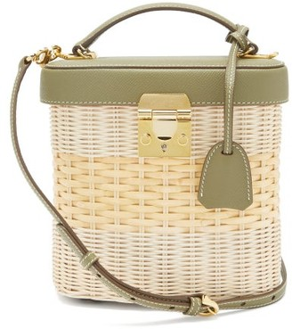 Mark Cross Benchley Leather And Rattan Bag - Green Multi